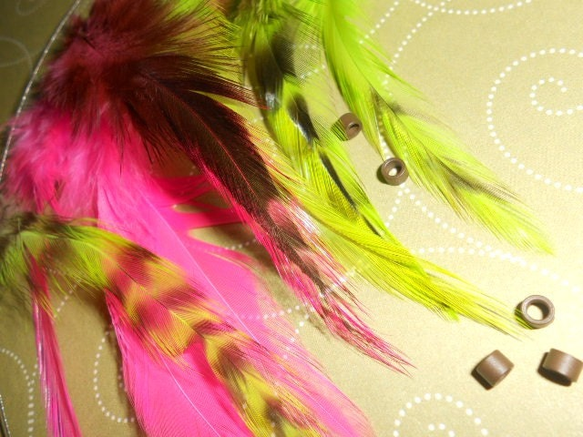 Feather hair extensions set of 8 feathers hot pink, and lime green with crimp beads and looping wire(set number 89)