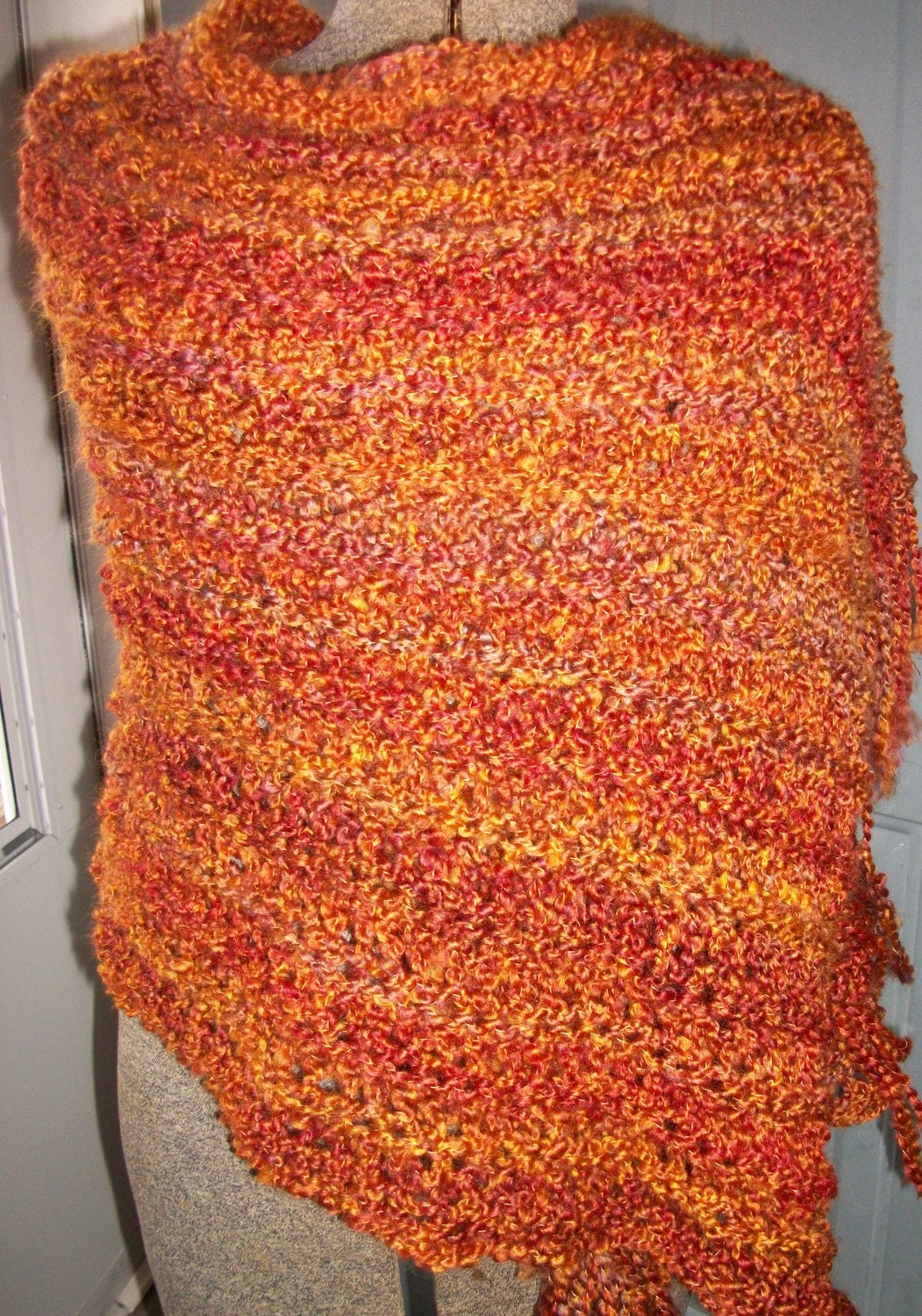 Wildfire - Rectangle Shawl with Fringe