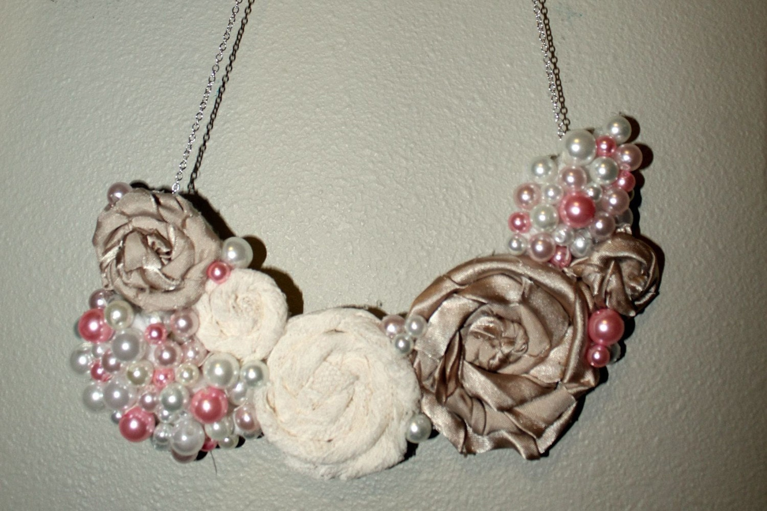 Lace and Pearl Bib Necklace