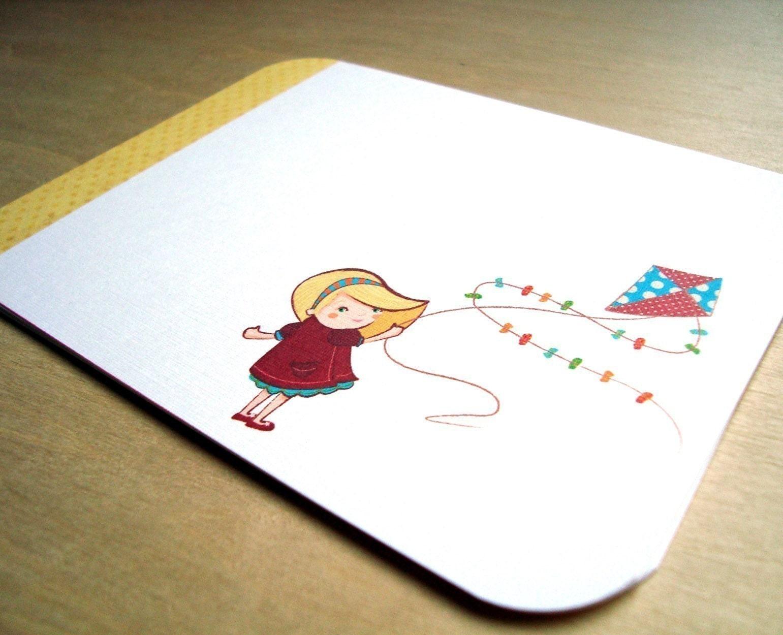 Kite Girl Flat Notecard Set of 6