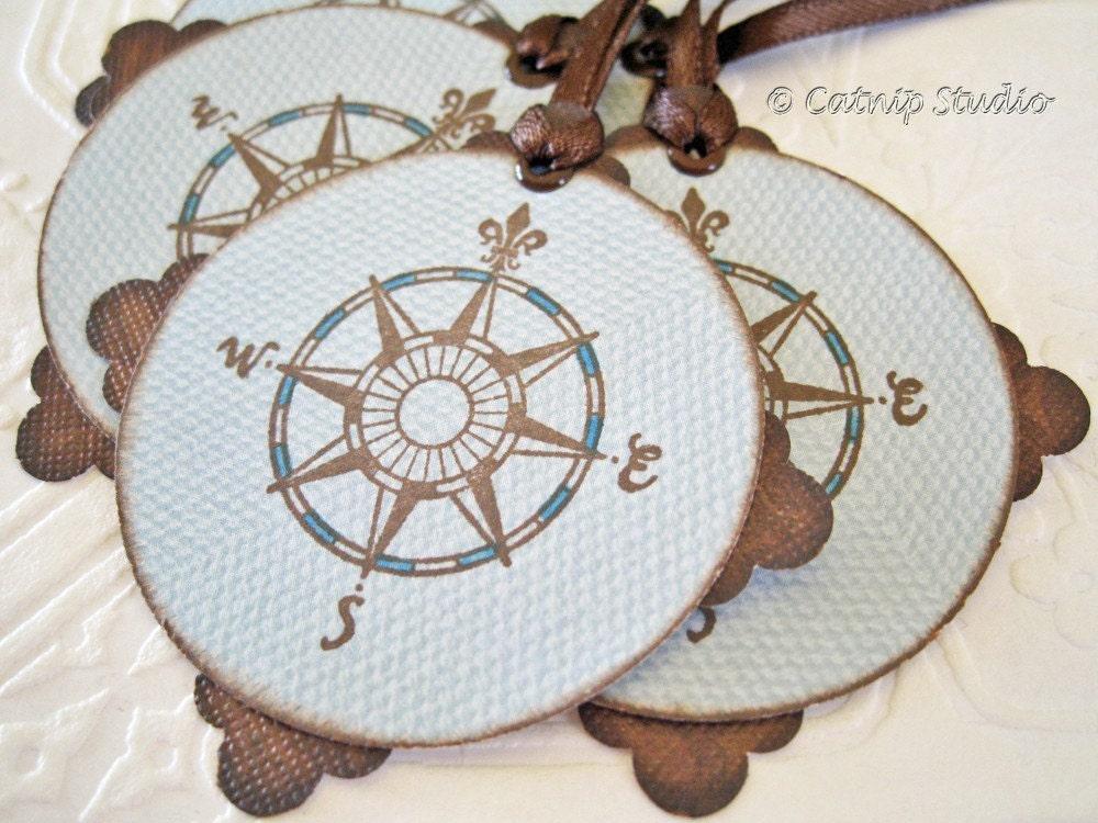 Fleur de Lis Compass Tags pale blue chocolate brown
