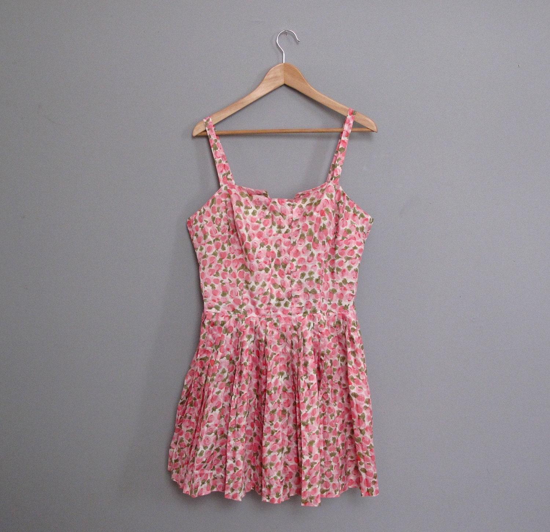 vintage 1960s pink FLORAL mini dress L