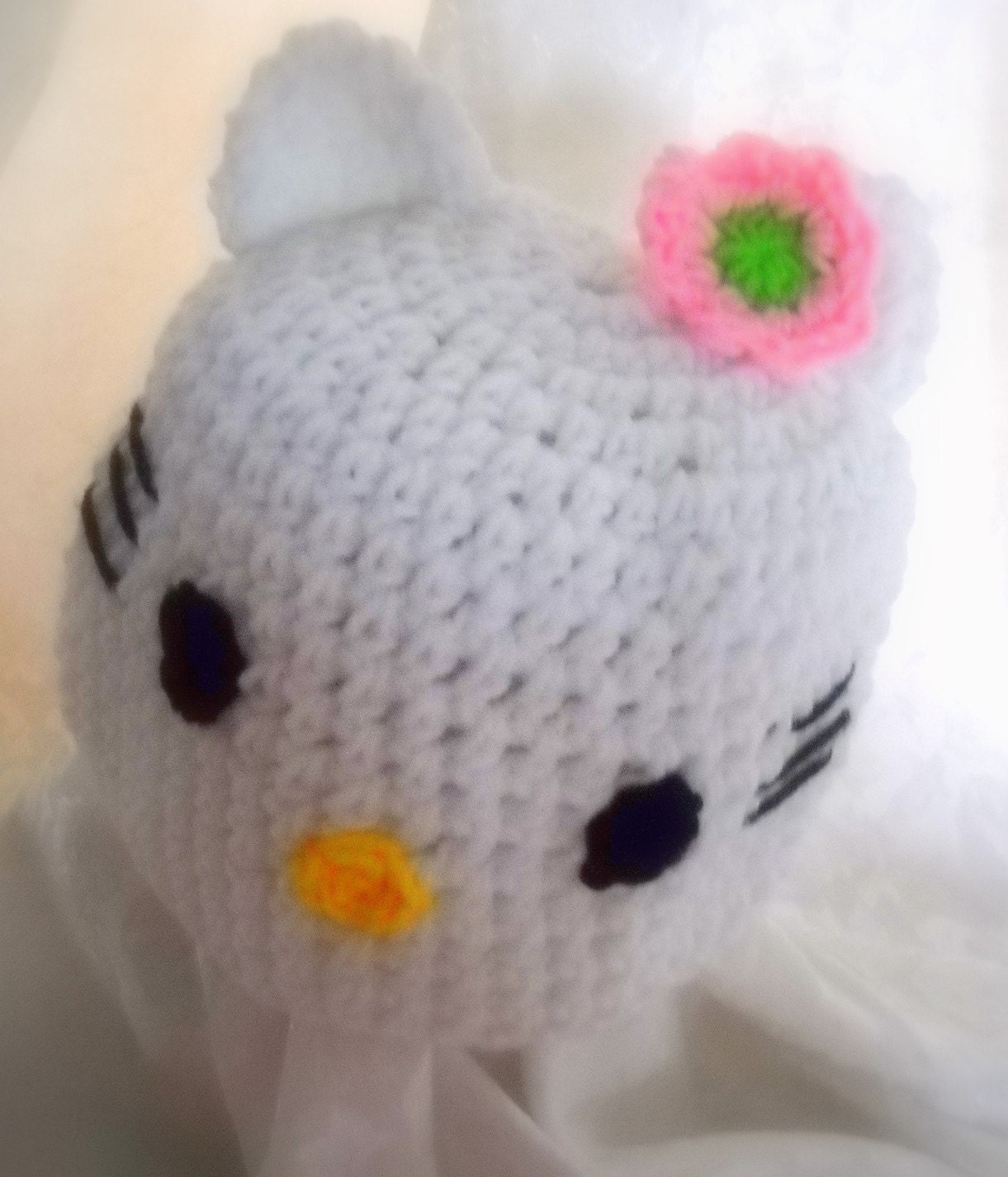 FLOWER HELLO KITTY Handmade crochet Hat Cap NEWBORN through -TEEN