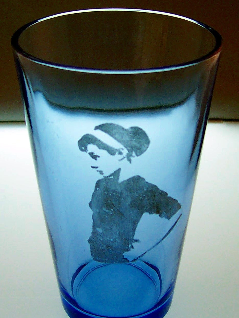 Audrey Blue Pint Glass