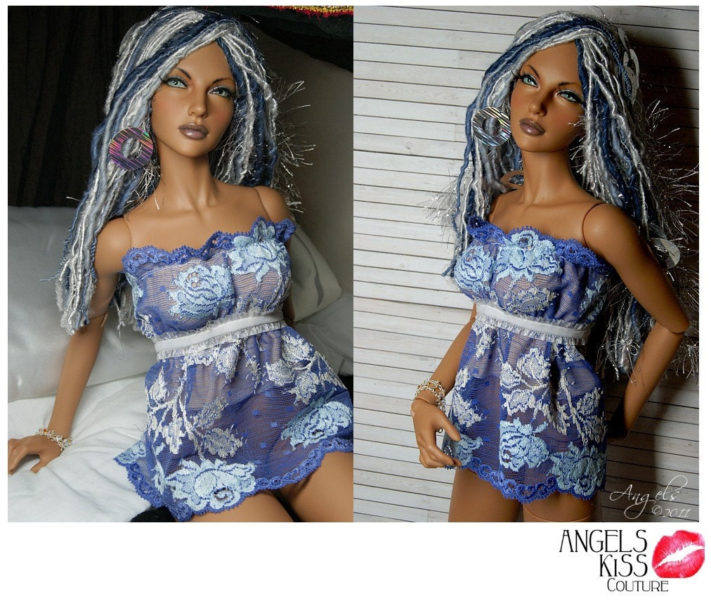 Periwinkle/White Lace Babydoll Top / Lingere for SD & EID BJD dolls --Angels Doll Studio