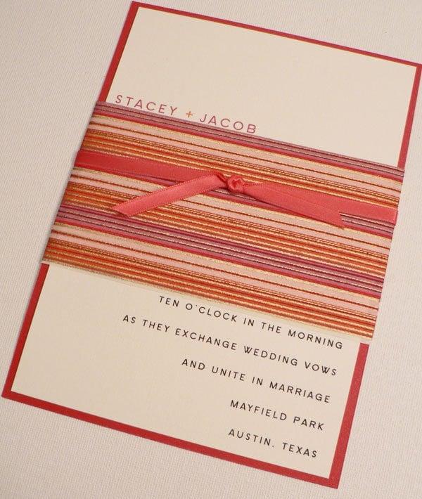 summer stripes wedding invitation set