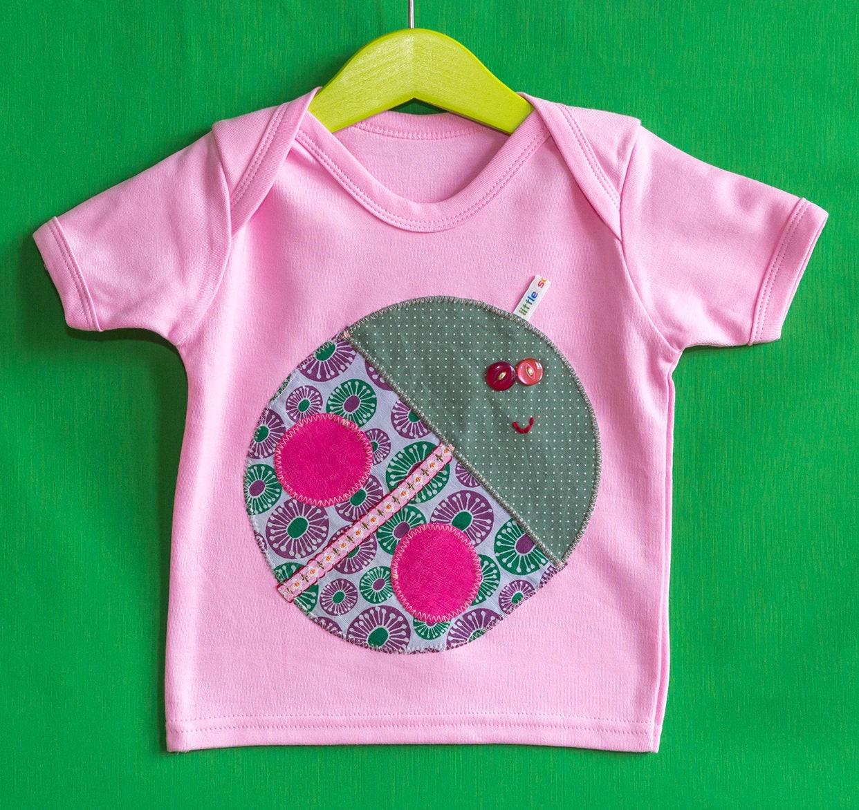 Unique children baby appliqu TShirt Ladybird animal motif 100 cotton 612 months pink girls kids