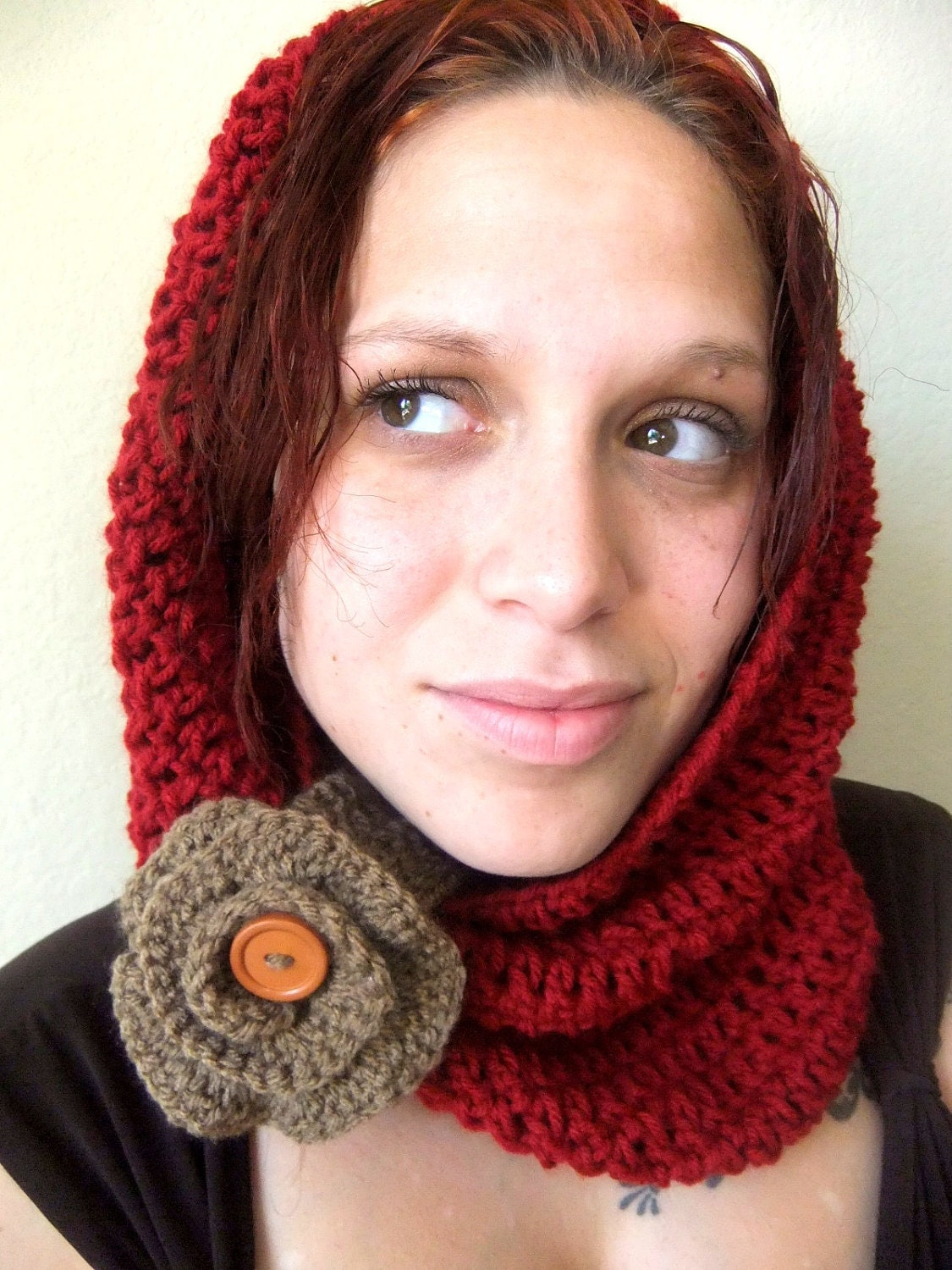 Red and Taupe, Cafe, Brown, Flower, Crochet, Cowl, Neck Warmer, Scarf, Accessory, Gift, Holiday, Woman, Teen, Warm, Cozy, Fashionable