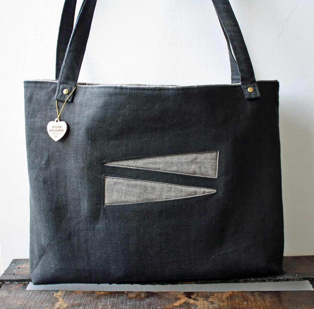 Soft, Lightweight Black Canvas Tote with Triangle pockets - YellowWallpaper