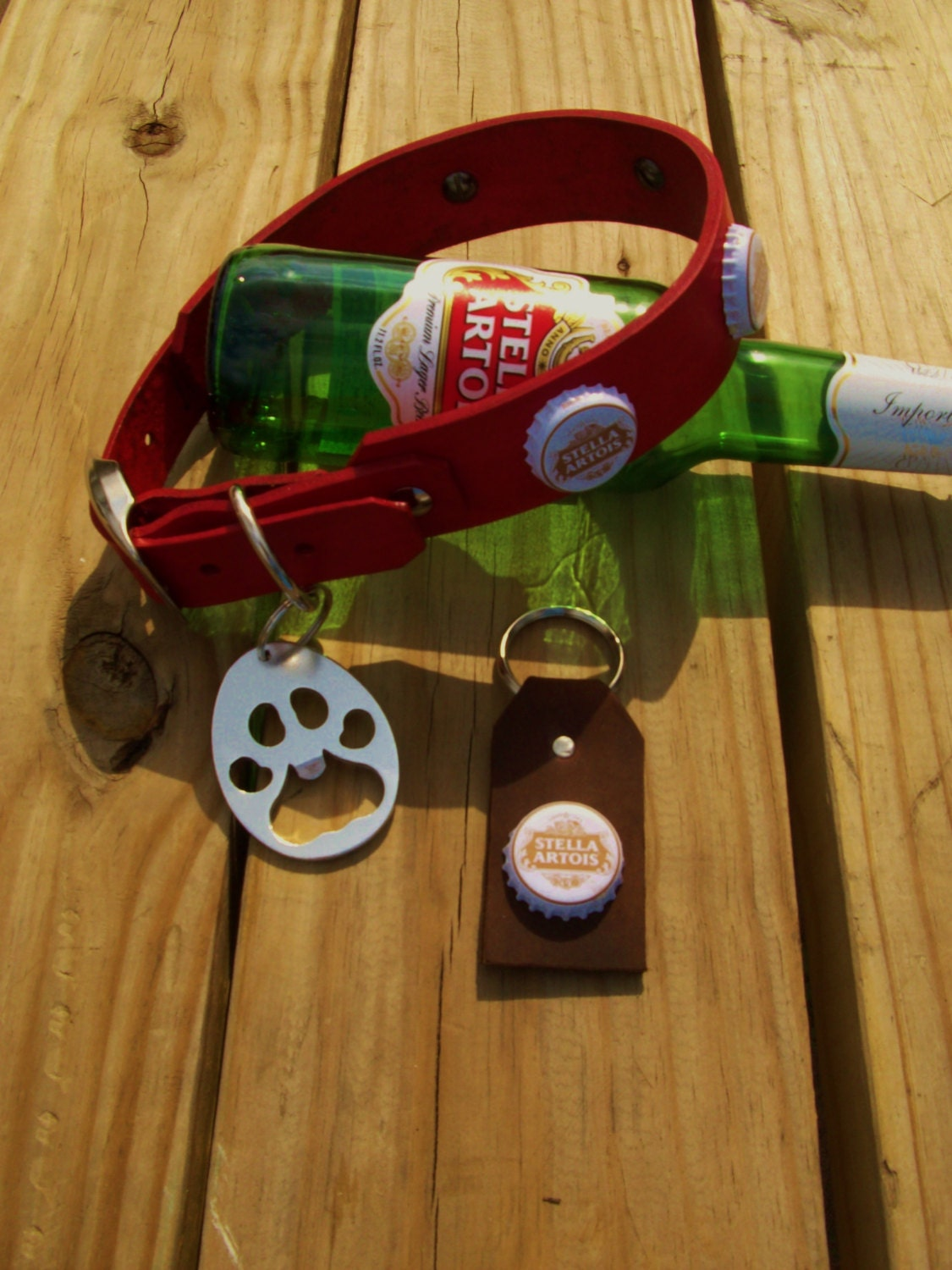 stella artois beer cap leather dog collar with by. Black Bedroom Furniture Sets. Home Design Ideas