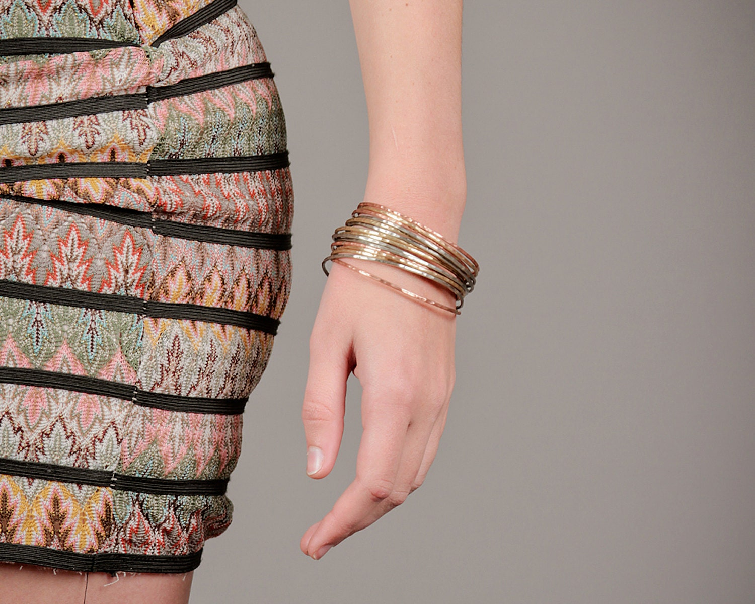 Bangle Bracelets Stacking Gold Silver Copper Bangles Chic Spring Fashion Fresh Finds Hand Hammered Cute Unique Hipster Fashion Nine Bangles