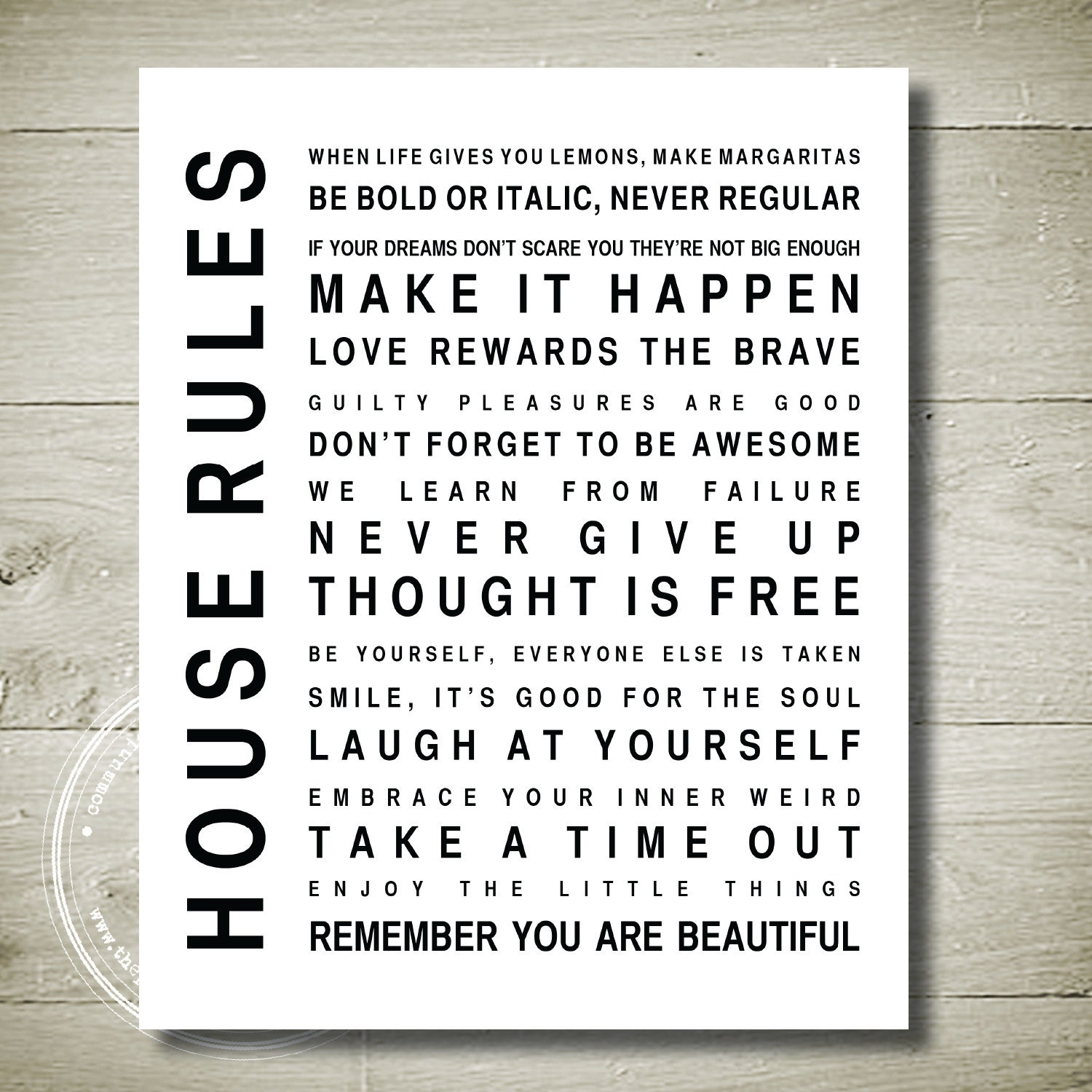 house rules alternative printable wall art 6 5 x 9 images frompo. Black Bedroom Furniture Sets. Home Design Ideas