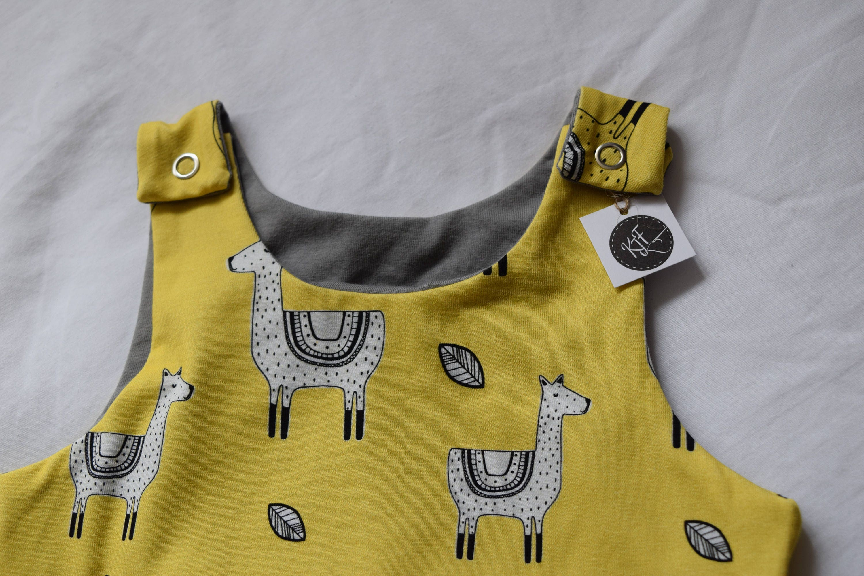 Baby romper organic toddler romper kids dungarees playsuit romper cloth nappy mustard llamas