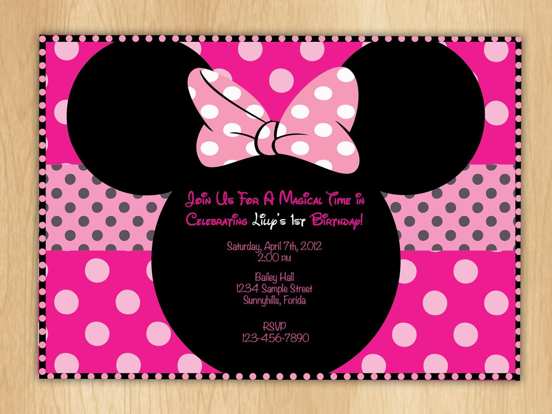 Custom Made Minnie Mouse Invitations with amazing invitations design