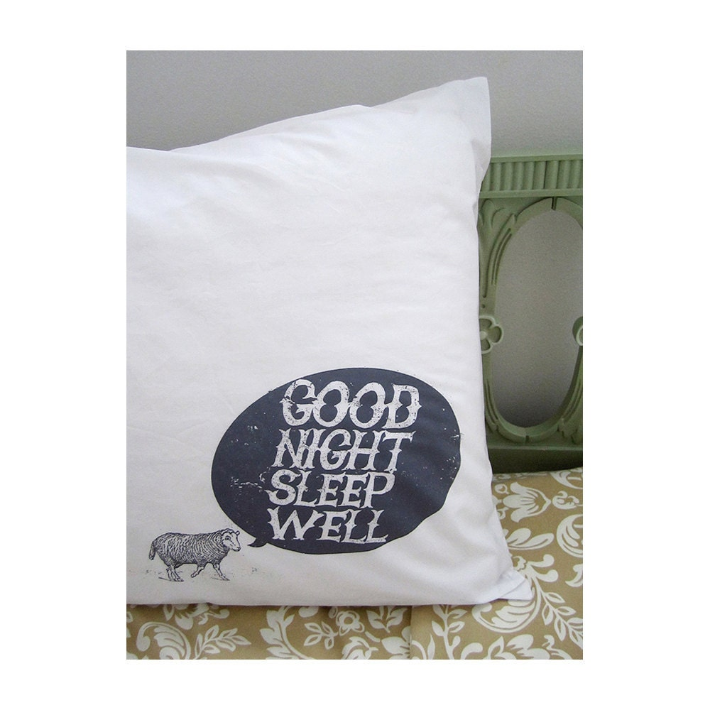 Good Night, Sheep pillowcase. white cotton. gray screenprint.