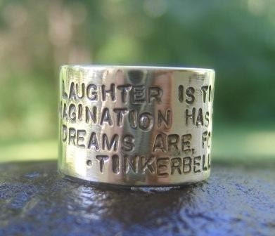 Laughter Is Timeless...Wide Inscribed Band (order in whole, half or quarter sizes - and whatever poetry or phrase you like)