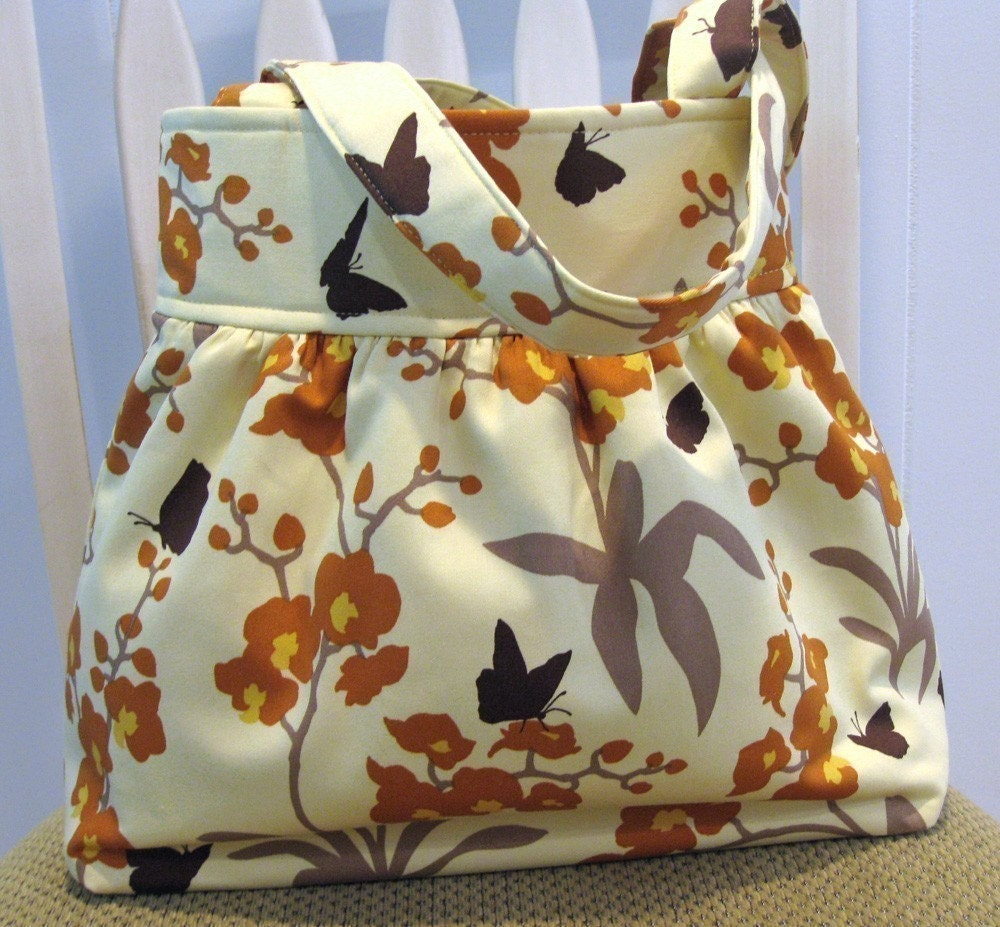 Gathered  Fabric Bag in Joel Dewberry Ginseng Orchid Ivory