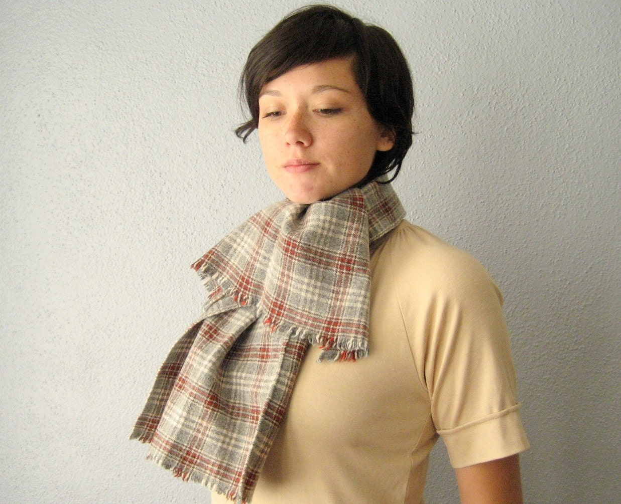 vintage 1960's wool plaid winter scarf