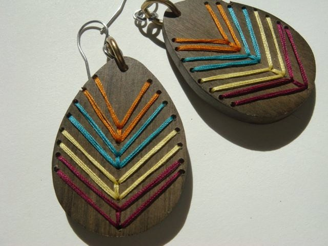 Embroidered Wood Chevron Earrings