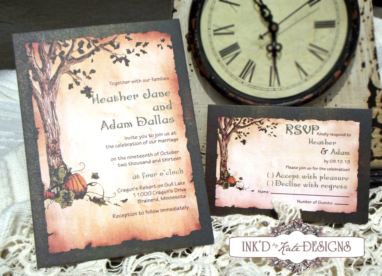 Vintage autumn pumpkins wedding invitation deposit by for Fall wedding invitations with pumpkins