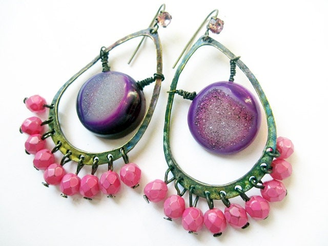 Dancing. Hot Pink and Purple Druzy Gypsy Earrings