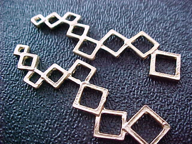 1 pair 18K Gold Plated Brass Linked Squares ... TheDesignersMuse