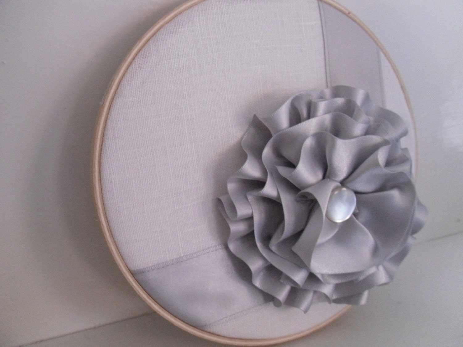 Silver Ribbon Flower Hoop