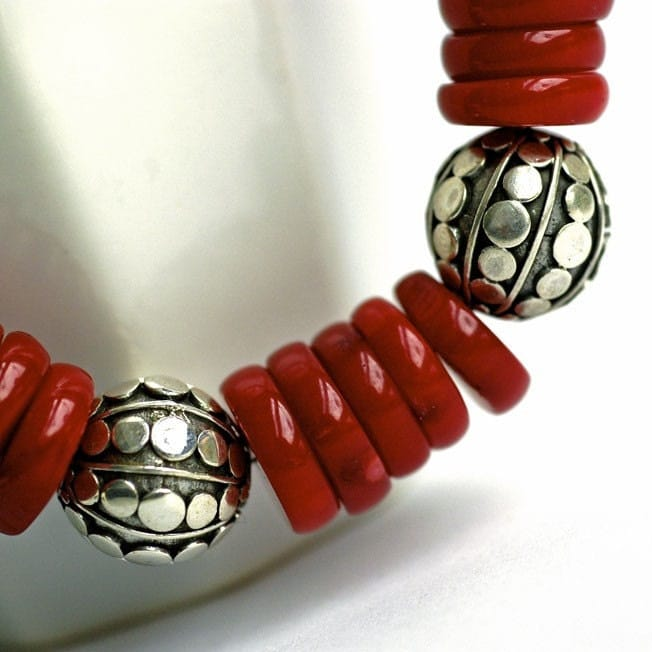 Bracelet  Coral discs  Sterling silver by Huismus on Etsy