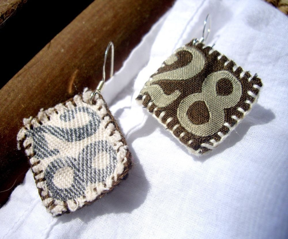 28th Favorite - Recycled Clothing Tag Earrings