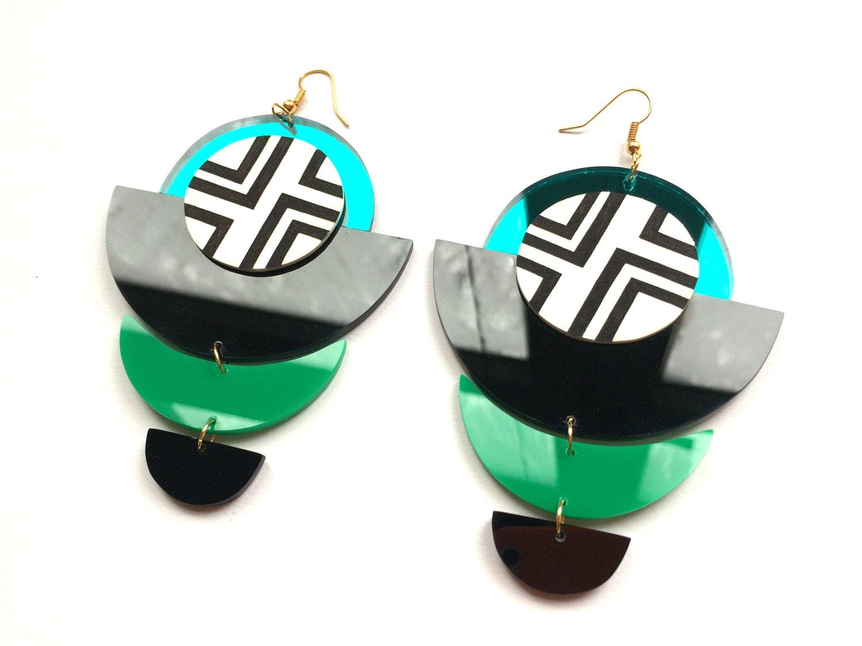 Oversized Turquoise Black Green Statement Earrings Handpainted Black and White Geometric Acrylic Chandelier Earrings