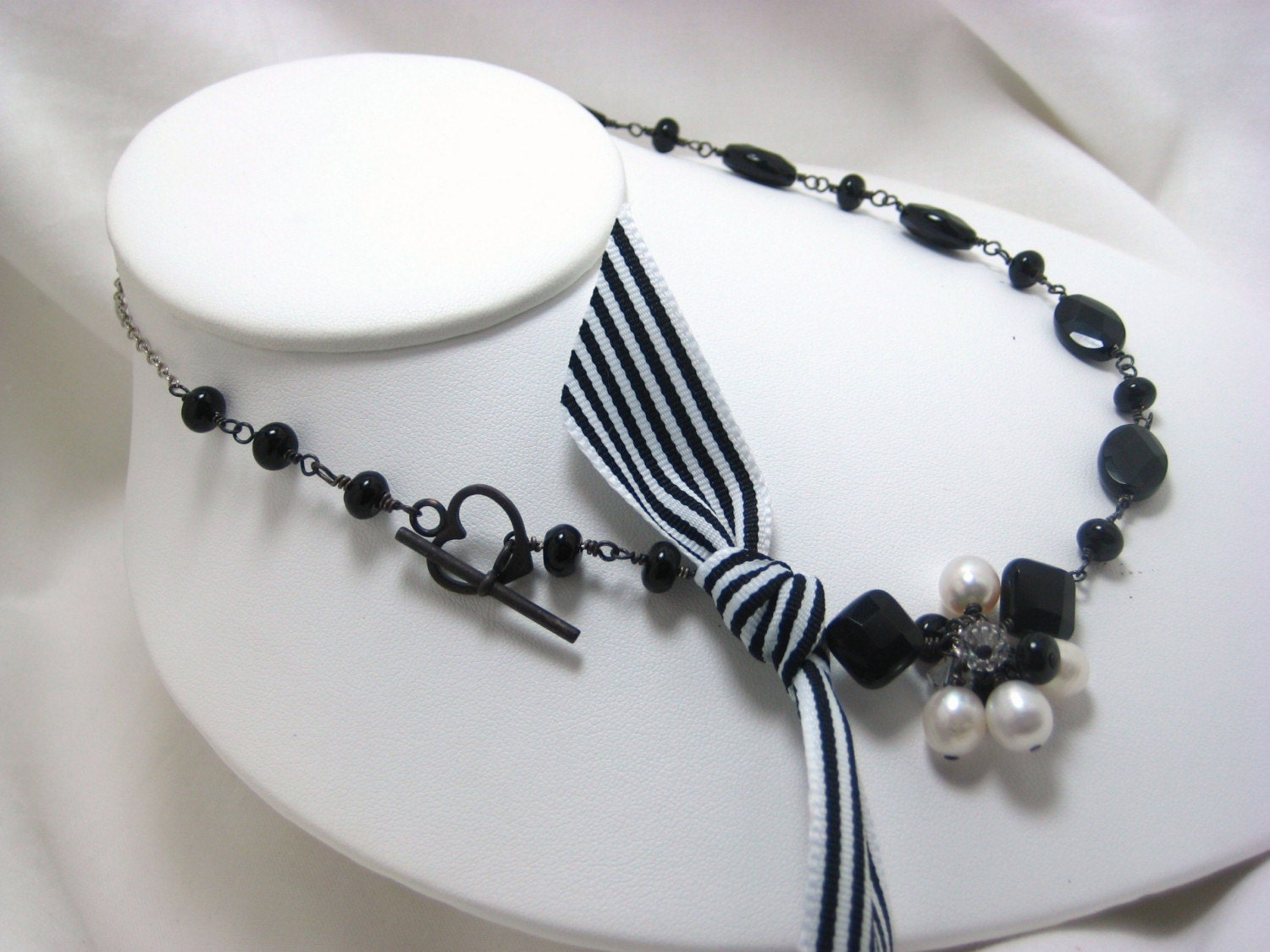 Black White Stripe Ribbon Black Onyx Oxidized Wire Wrapped Fashion Necklace  OOAK NF082
