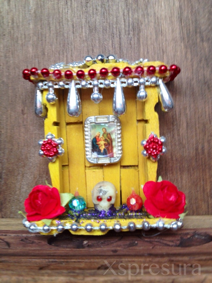 Holy family day of the dead miniature shrine dia de by for Altar wall decoration