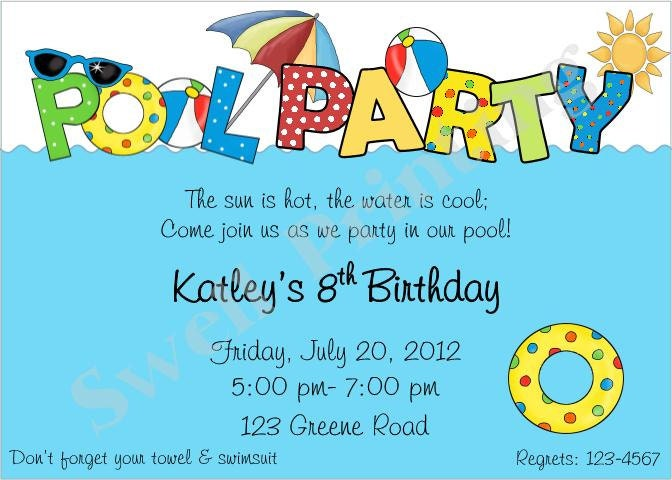 Pool party invitation pool birthday invitation by - How to make a pool party ...