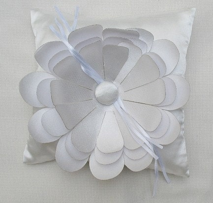 Wedding Ring Pillow for Ring bearer pure white with daisy flower CUSTOM MADE