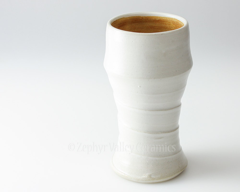 Tumbler - Ice Tea Glass - Cup - Ceramic Glass - White and Sunflower