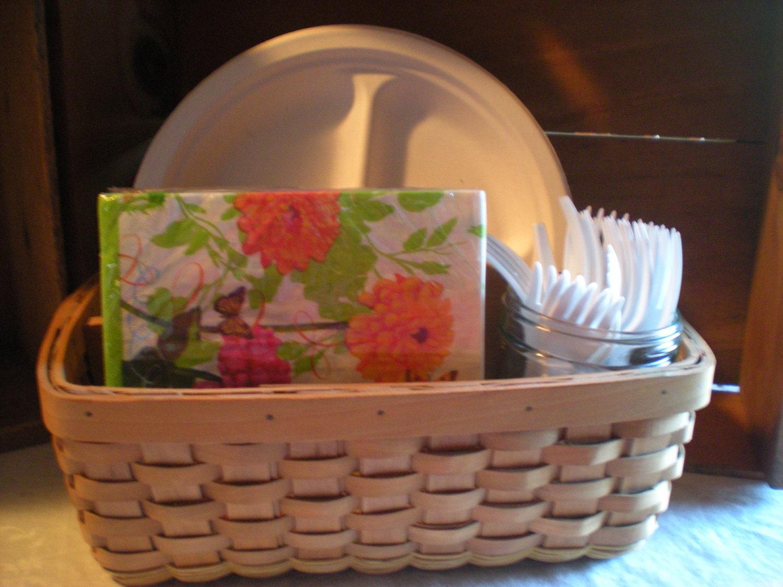 basket caddy paper plate napkin caddy wicker basket by enochfarm. Black Bedroom Furniture Sets. Home Design Ideas