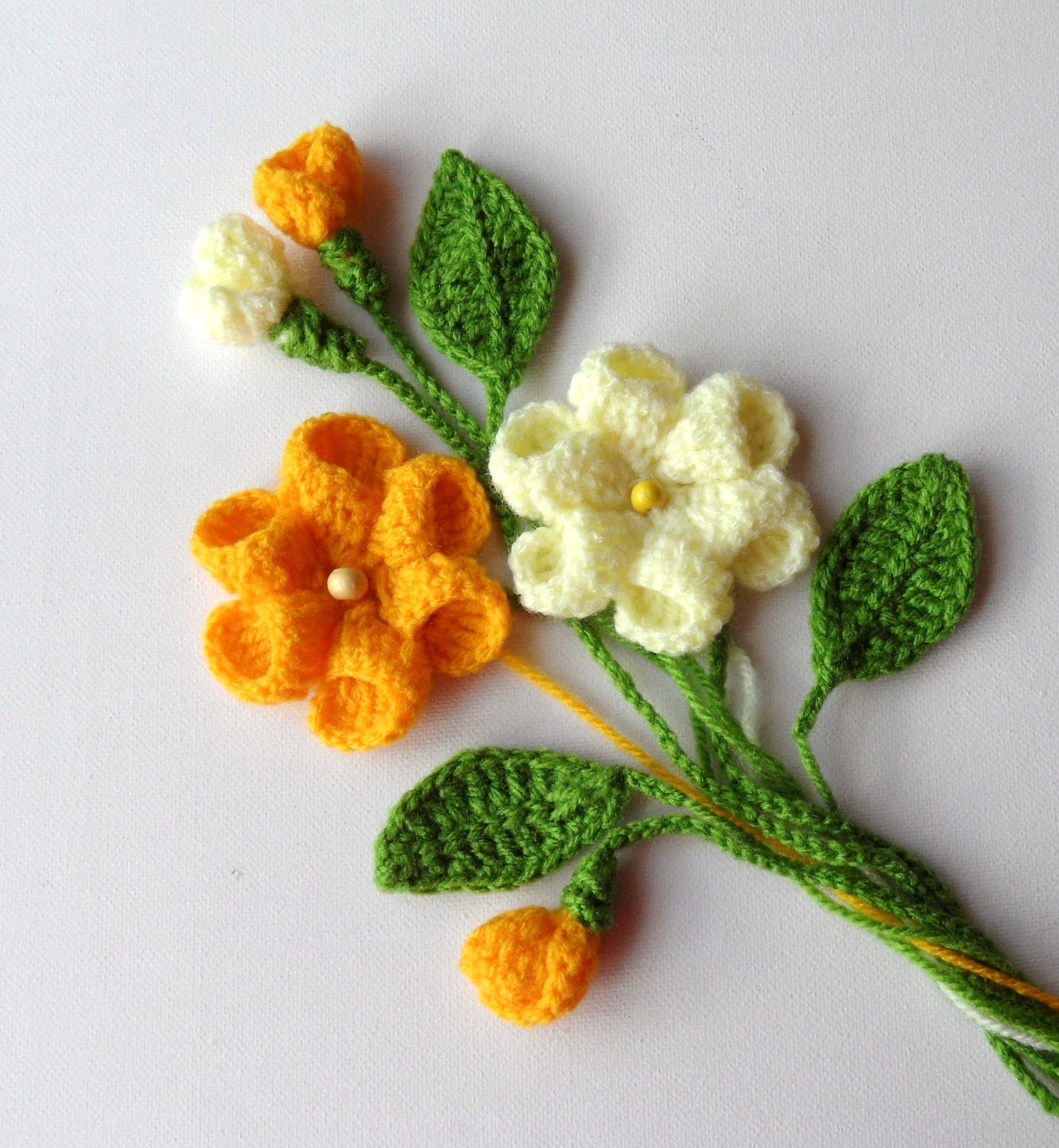 Free Crochet Patterns Flowers Leaves : Crochet Applique Flowers and Leaves Set Any by CraftsbySigita