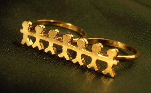 24ct Gold Plated Handcrafted Two-Finger Ring 'Paper Chain' Sterling Silver