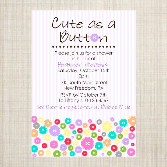 items similar to cute as a button baby shower invitation on etsy