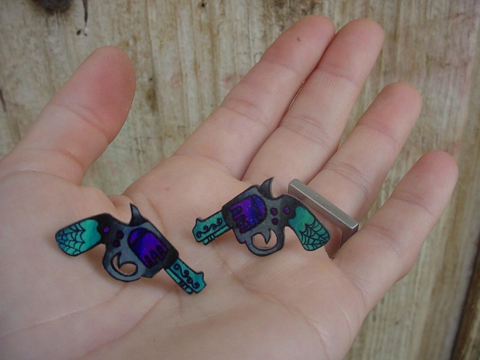 sweet little purple and teal tattoo pistol (nickel free) ear studs/posts