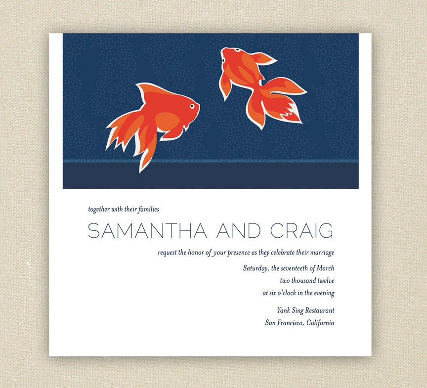 Printable Wedding Invitations Midnight Water Navy Blue and Orange