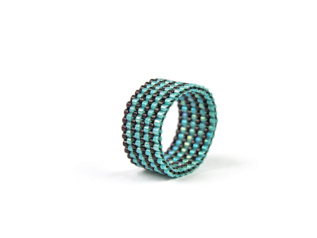 Handmade peyote ring, Handwoven band ring, Turquoise, Teal, Black, Beaded Ring, Miyuki delica, modern, minimalist, chic, fashion jewelry - PeyoteArt