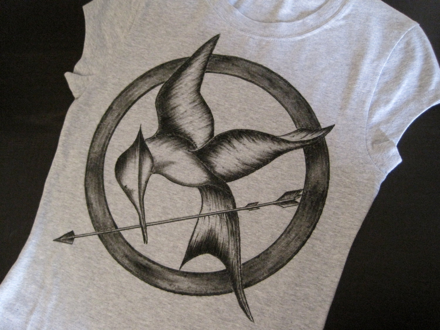 Hand-Drawn The Hunger Games Mockingjay Tee