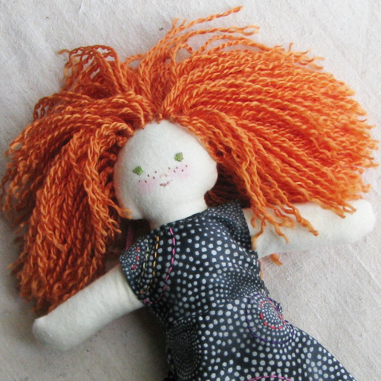 Cloth doll, 10 inch, redhead with freckles in an hand embroidered charcoal gray dress, child friendly