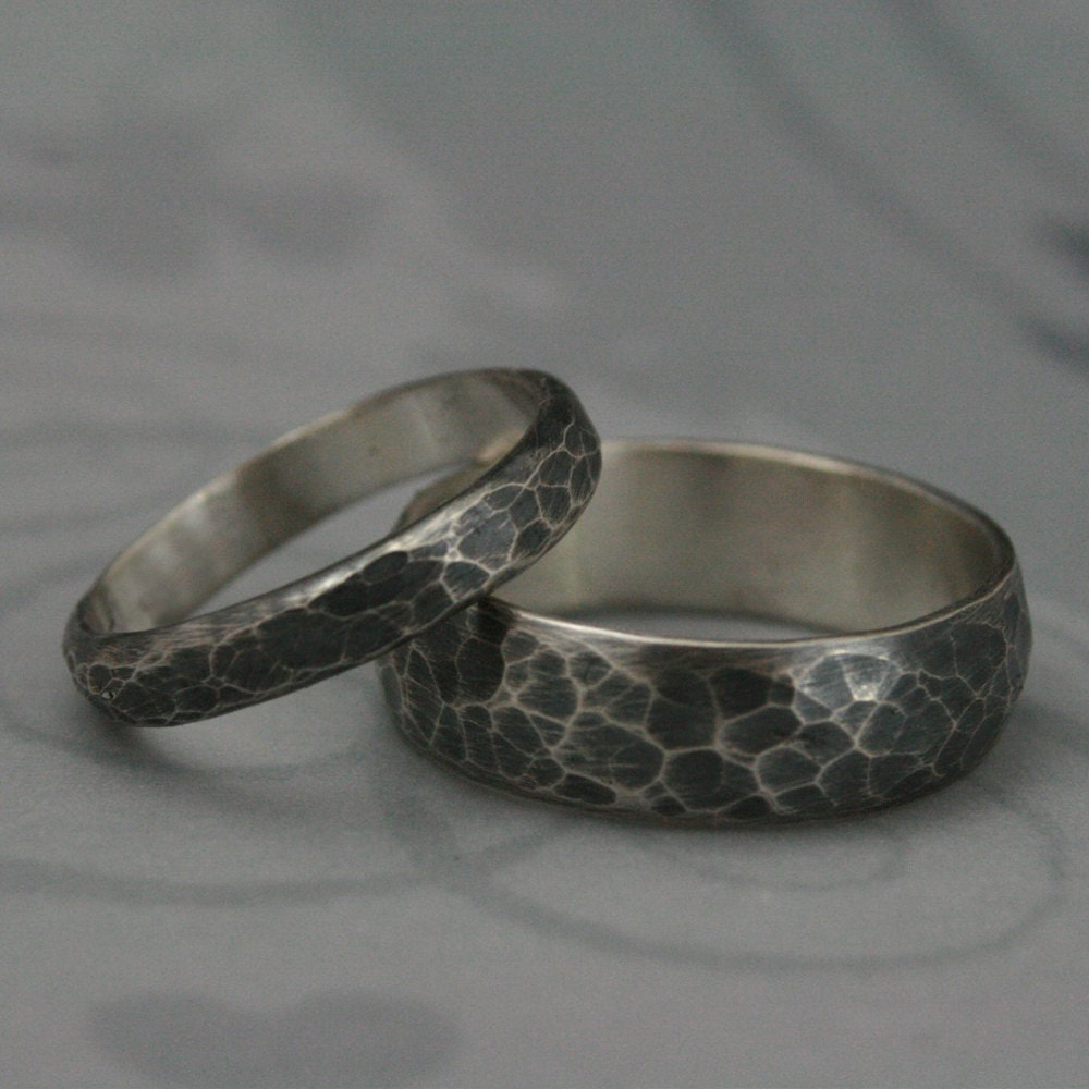 hammered bandsmatching sterling silver wedding ring by