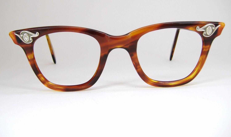 Vintage Tortoise Horn Rim Cat Eye Eyeglasses AO Frame