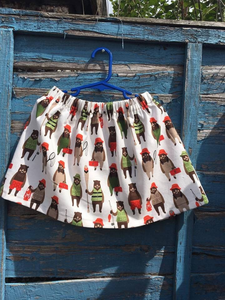Little bears skirt kids clothing handmade bespoke fishing bears age 5