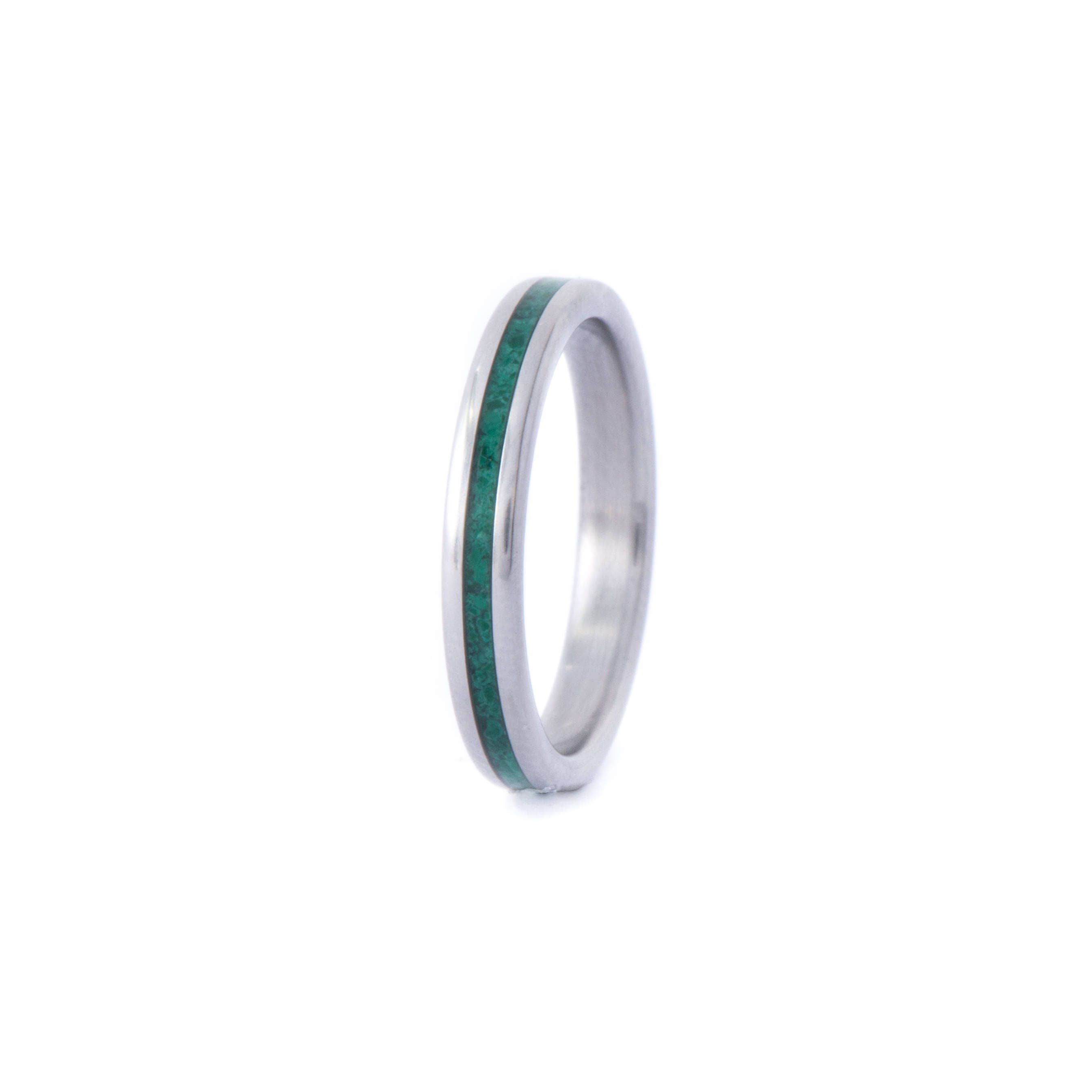 3mm Wide Titanium Ring With Malachite Mineral Stone Inlay. Wedding And Engagement Ring. For Men And Women. Custom Made.