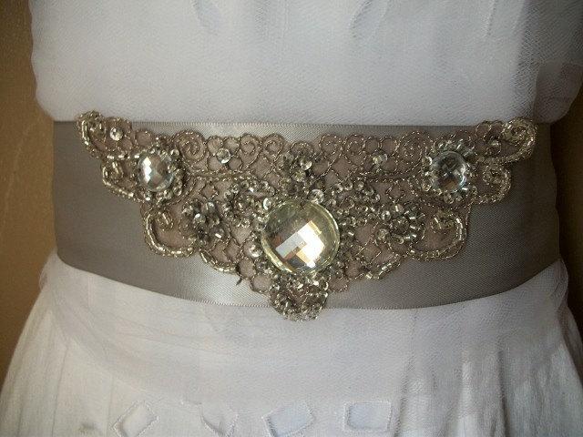 Dazzling Silver/Gray Crystal Bridal Sash