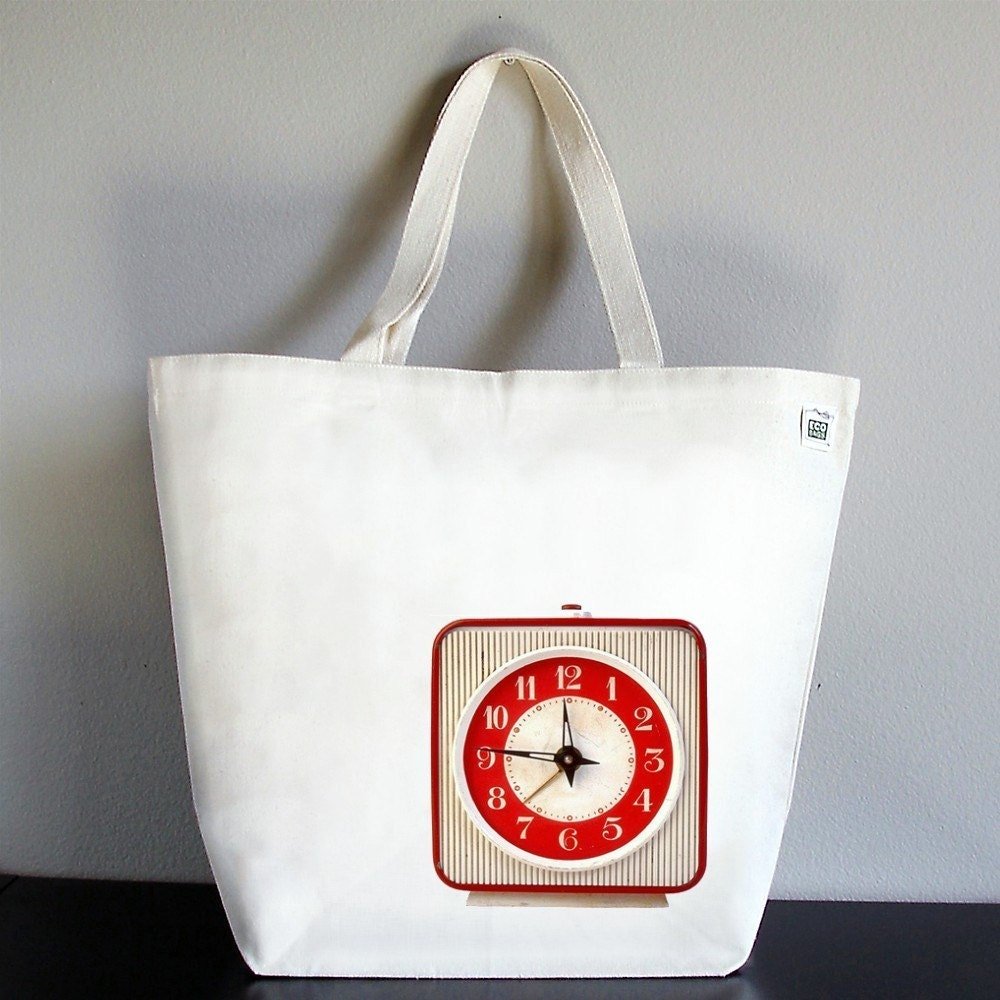 Recycled Cotton Canvas Market Tote Bag - Red Vintage Clock